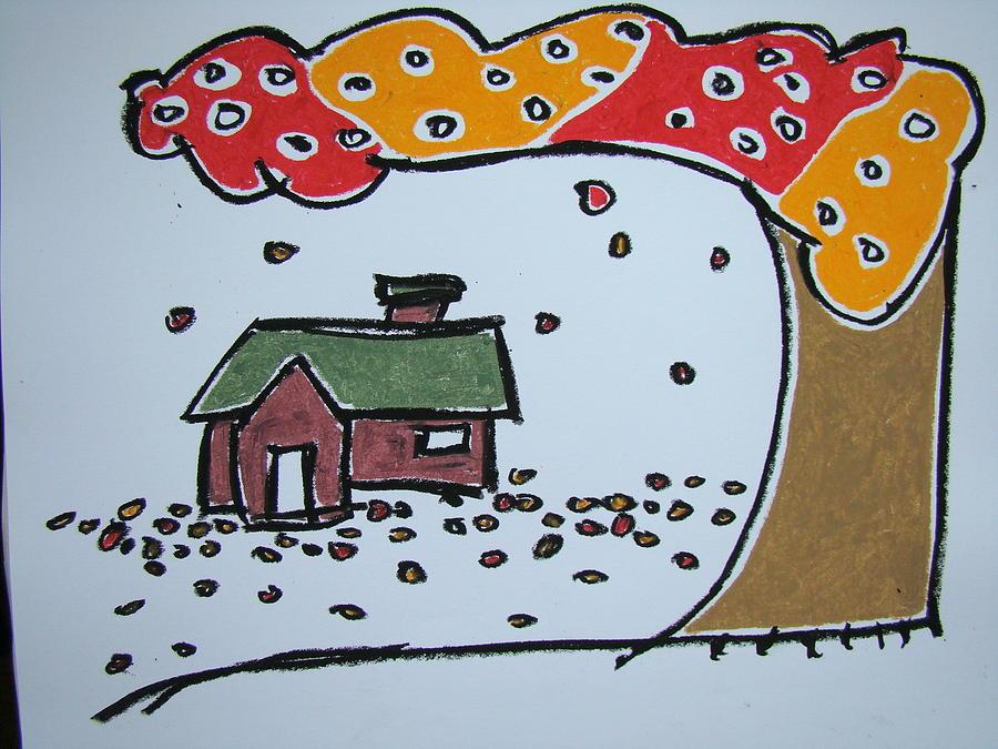 Oil Pastel Pastel - Falling Leaves by Pat  Lackenbauer