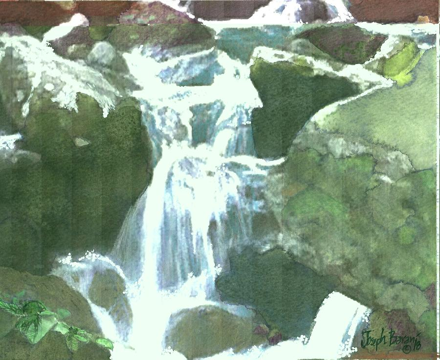 Waterfall Painting - Falling Waters by Joseph Barani