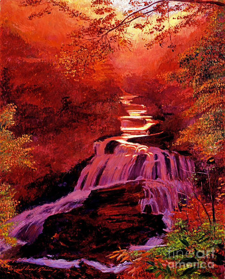 Waterfalls Painting - Falls Of Fire by David Lloyd Glover