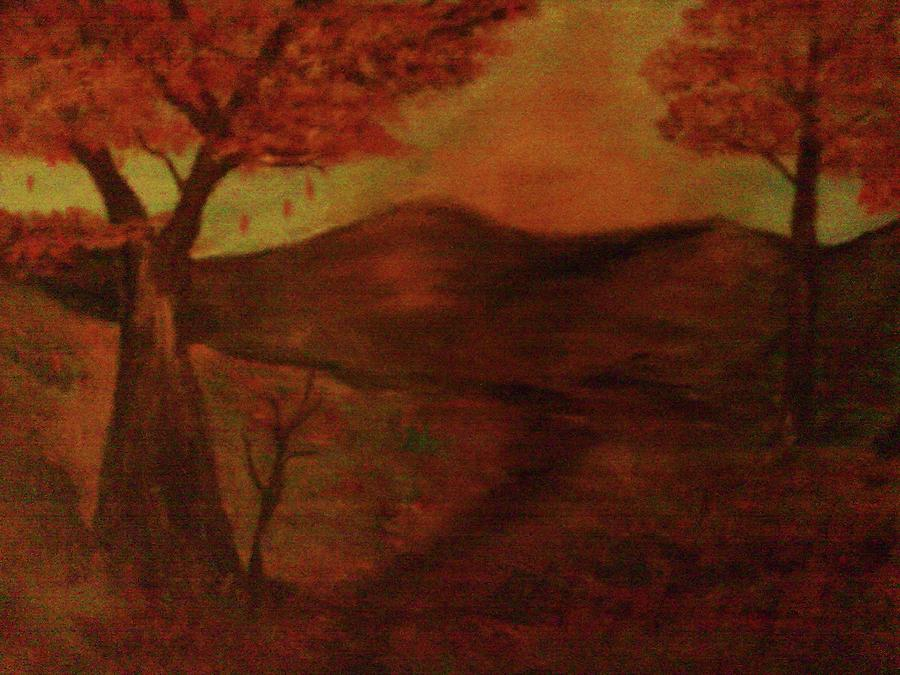 Falls Sunset Painting by Helen Vanterpool