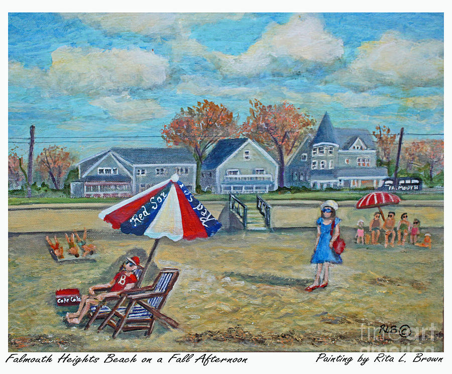 Falmouth Painting - Falmouth Heights Beach On A Fall Afternoon by Rita Brown