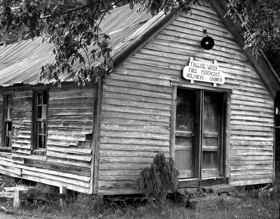Wood Photograph - falnH2OchurchBW by Curtis J Neeley Jr