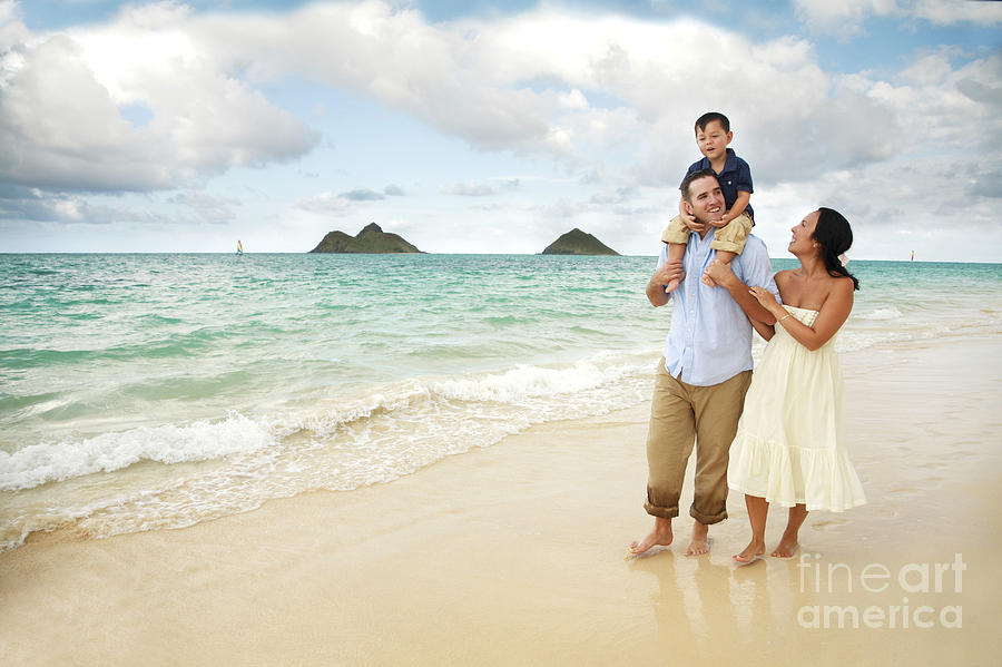 Affection Photograph - Family At Lanikai I by Brandon Tabiolo - Printscapes
