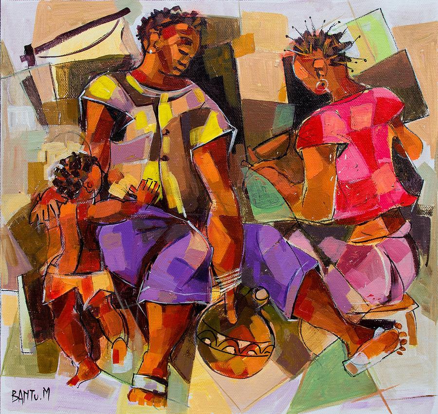 Zambia Painting - Family by Bantu M