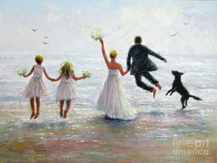 Bride And Groom Painting - Family Beach Wedding by Vickie Wade
