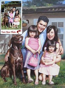 Oil Painting Painting - Family Children Oil Painting Portrait Based On Your Photo by Les Moments