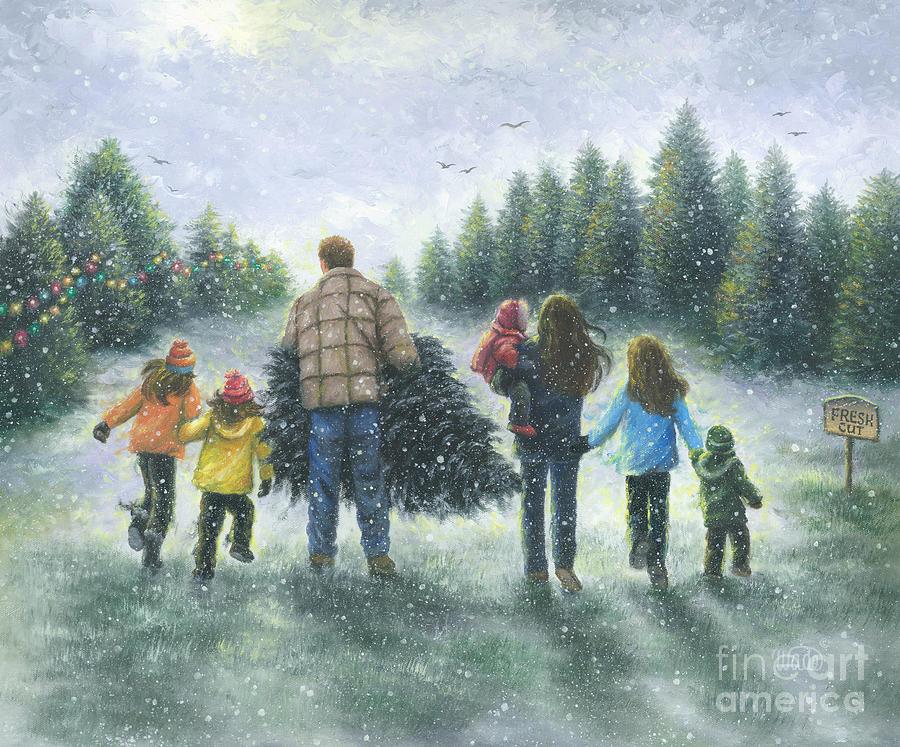 Family Christmas Tree Painting By Vickie Wade