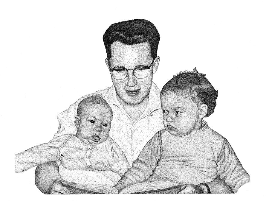 Family Digital Art - Family In Pointillism by Gerald Lynch