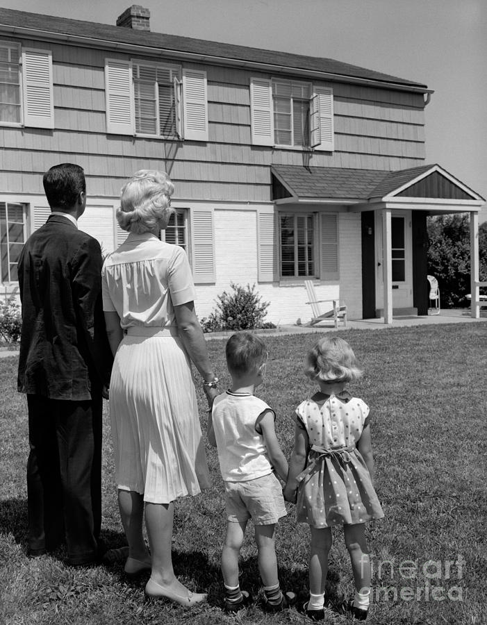 Family Looking At New House, C.1950-60s Photograph by H ...  Retro