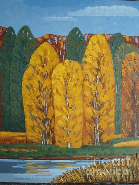 Fall Landscape Painting - Family by Ludmila Kalinina