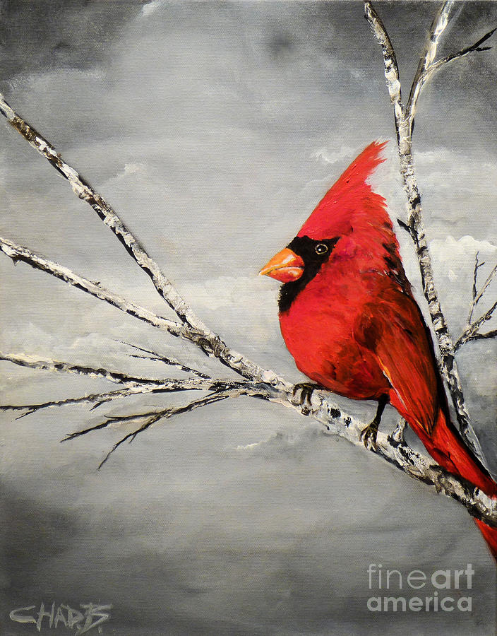 Cardinal Painting - Family Man by Chad Berglund