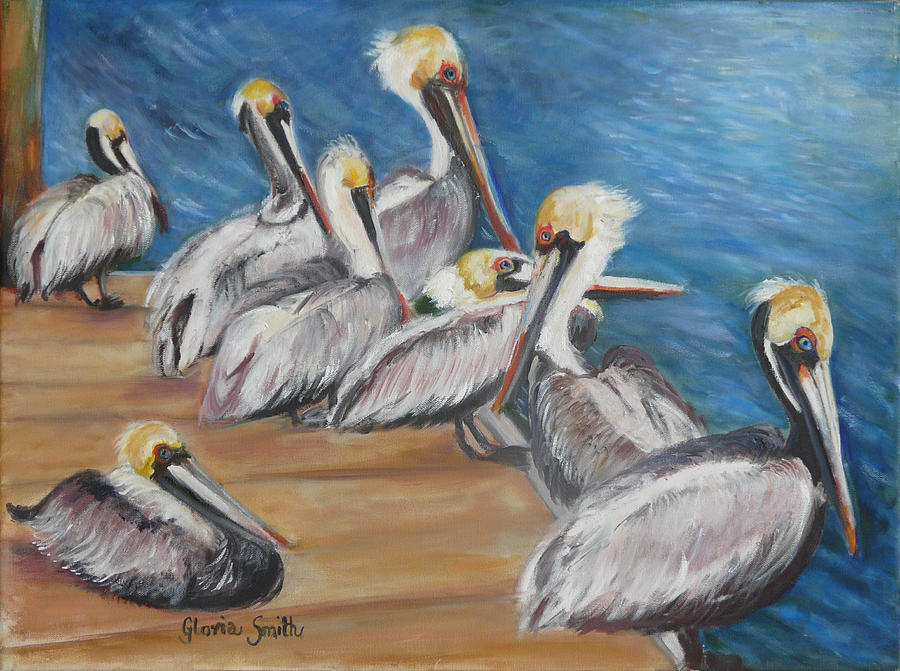 Pelicans Painting - Family Meeting by Gloria Smith