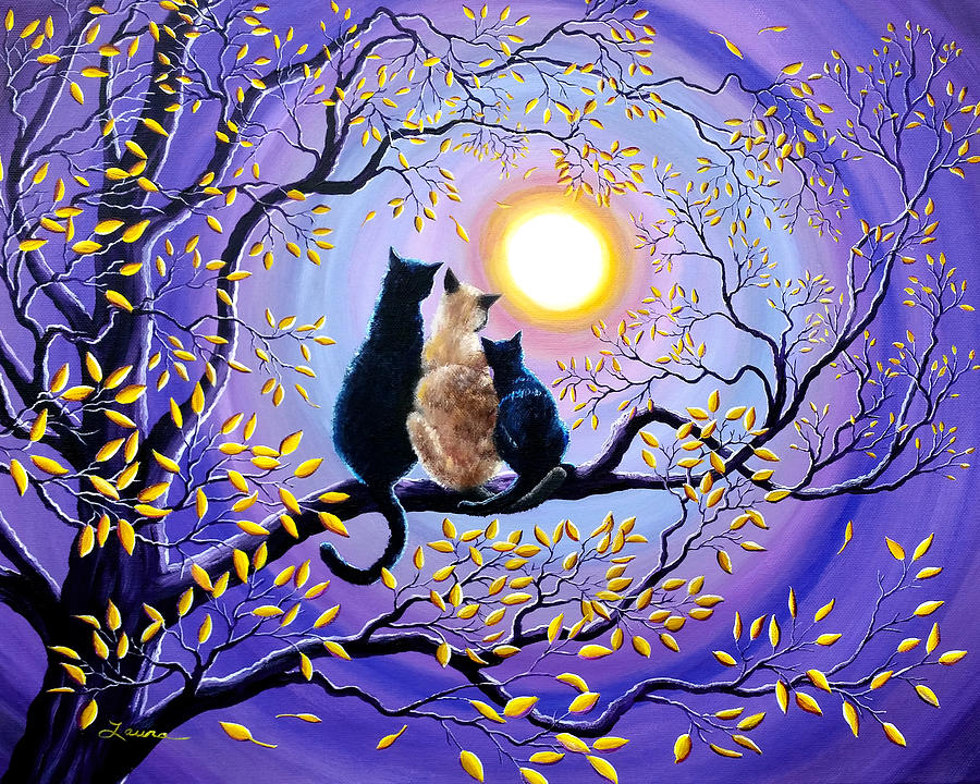Family Moon Gazing Night Painting By Laura Iverson