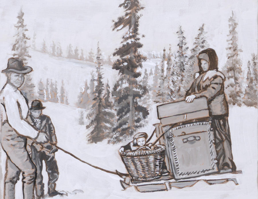 Historical Painting - Family Moving With Sled Historical Vignette by Dawn Senior-Trask