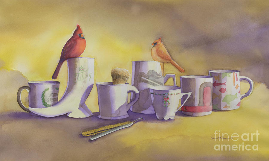 Cardinals Painting - Family Mug Shot by Sandra Neumann Wilderman