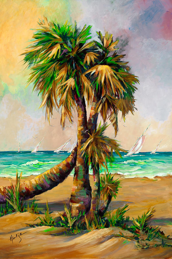 Palms Painting - Family Of Palm Trees With Sail Boats by Mary DuCharme