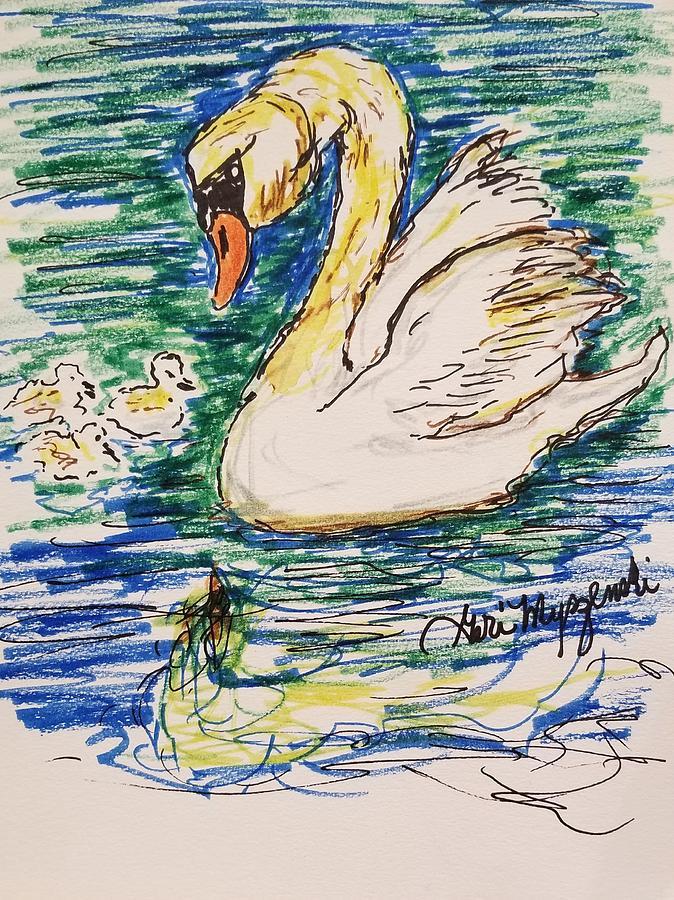 Swan Drawing - Family Of Swanns  by Geraldine Myszenski