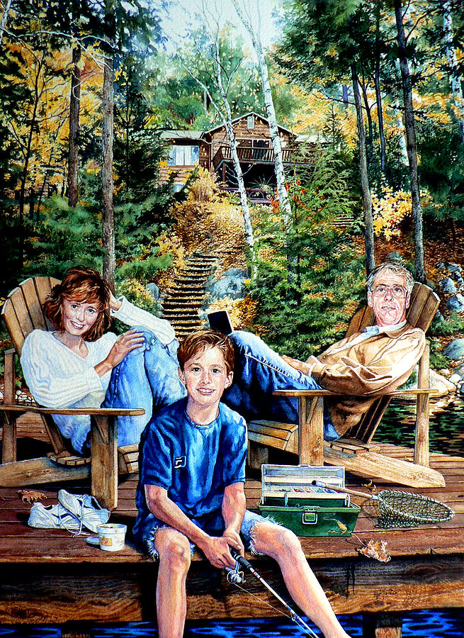 Cottage Painting - Family On The Dock by Hanne Lore Koehler