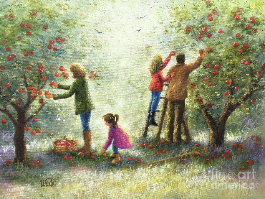 Picking Apples Painting - Family Picking Apples by Vickie Wade