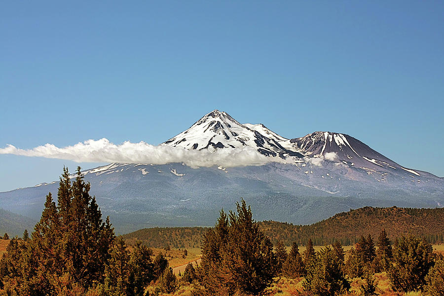 Shasta Photograph - Family Portrait - Mount Shasta And Shastina Northern California by Christine Till