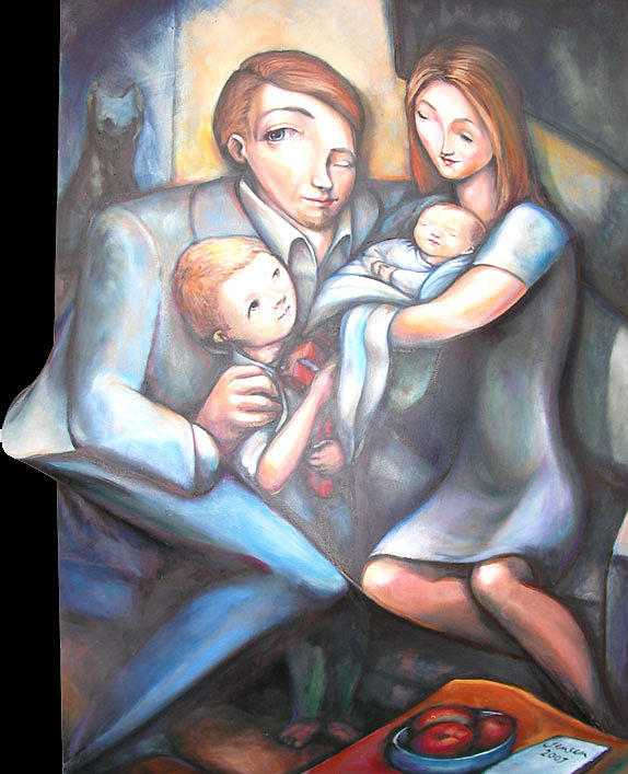 Family Portrait 2007 Painting by Nathan  Jensen