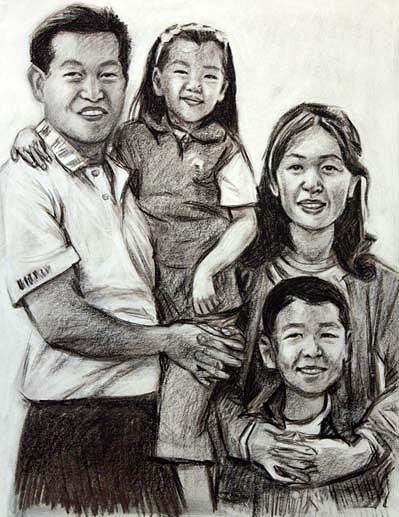 Portrait Drawing - Family Portrait by Alex El