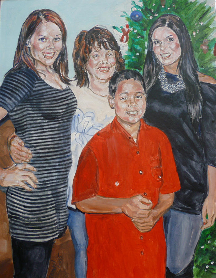 Girlfriend Painting - Family Portrait by Bryan Bustard