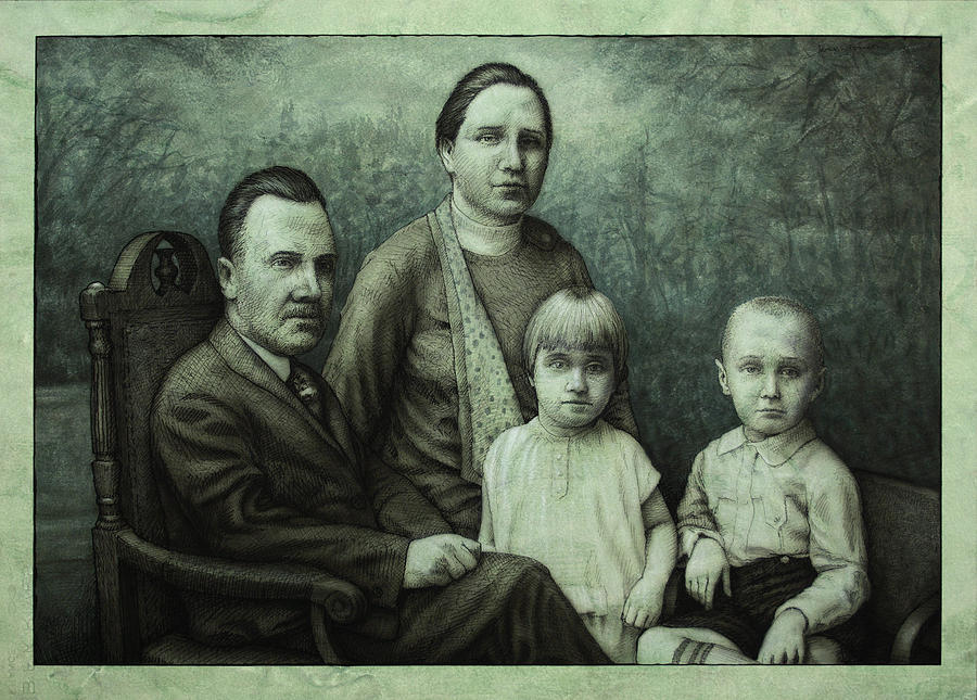 Vintage Painting - Family Portrait by James W Johnson