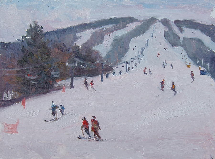Landscape Painting - Family Ski by Dianne Panarelli Miller