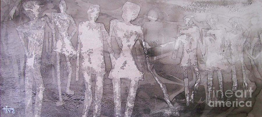 Figurative Painting - Family Stroll Stick Figures series by Tina Siddiqui