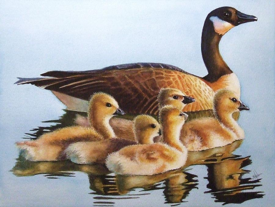 Geese Painting - Family Time by Greg and Linda Halom