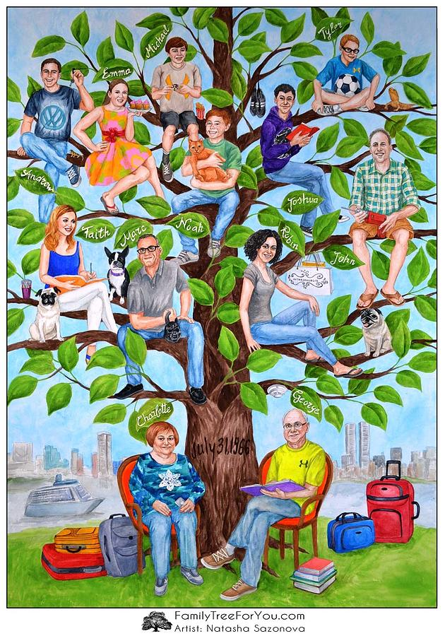 Family Tree Gift For Parents 50th Wedding Anniversary Painting By