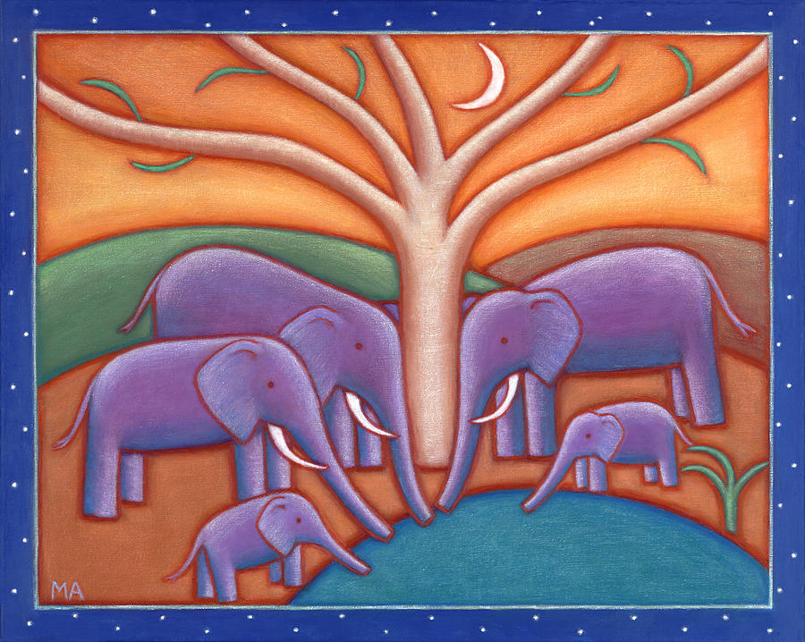 Whimsical Painting - Family Tree by Mary Anne Nagy
