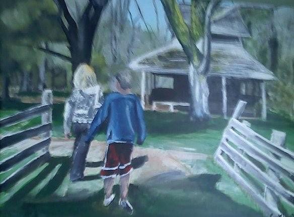 Walk Painting - Family Walk by Casey Bingham
