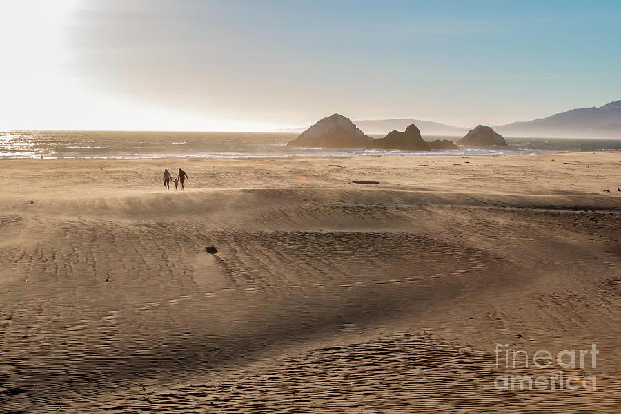 California Photograph - Family Walking On Sand Towards Ocean by PorqueNo Studios