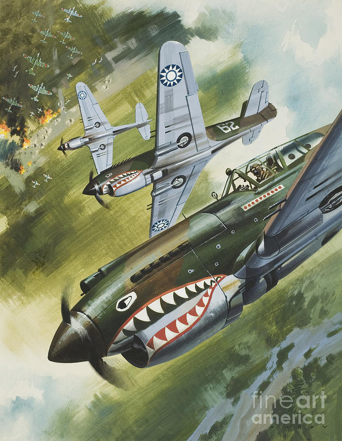 Single Engine Painting - Famous Aircraft And Their Pilots by Wilf Hardy