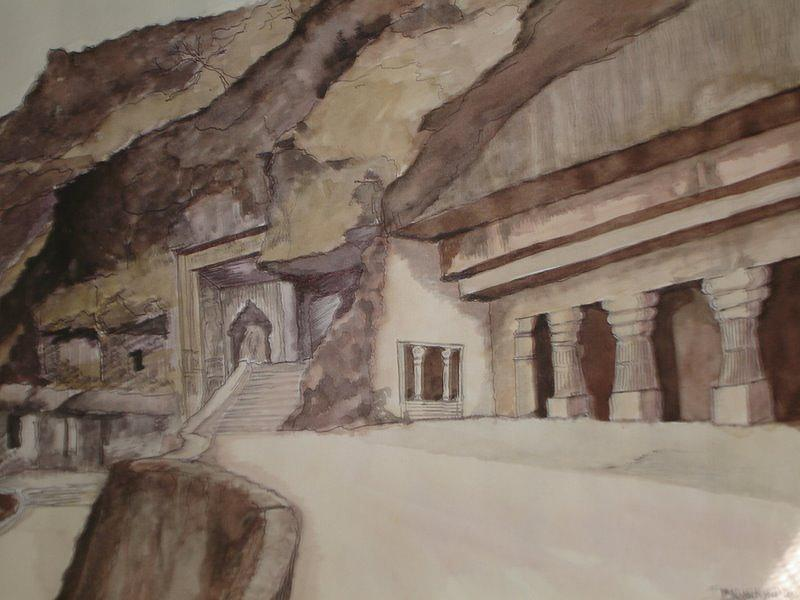 Landscape Painting - famous Ajantha Caves by Bhalchandra Salunkhe