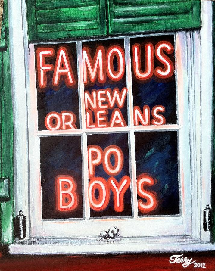 Neon Sign Painting - Famous French Quarter Window Sign by Terry J Marks Sr