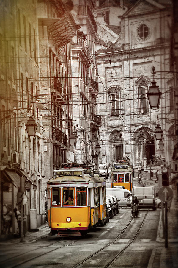 Famous Yellow Trams of Lisbon Portugal  by Carol Japp