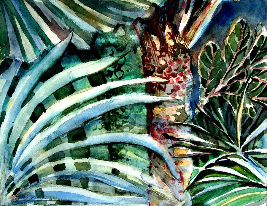 Palm Drawing - Fan Palms by Mindy Newman