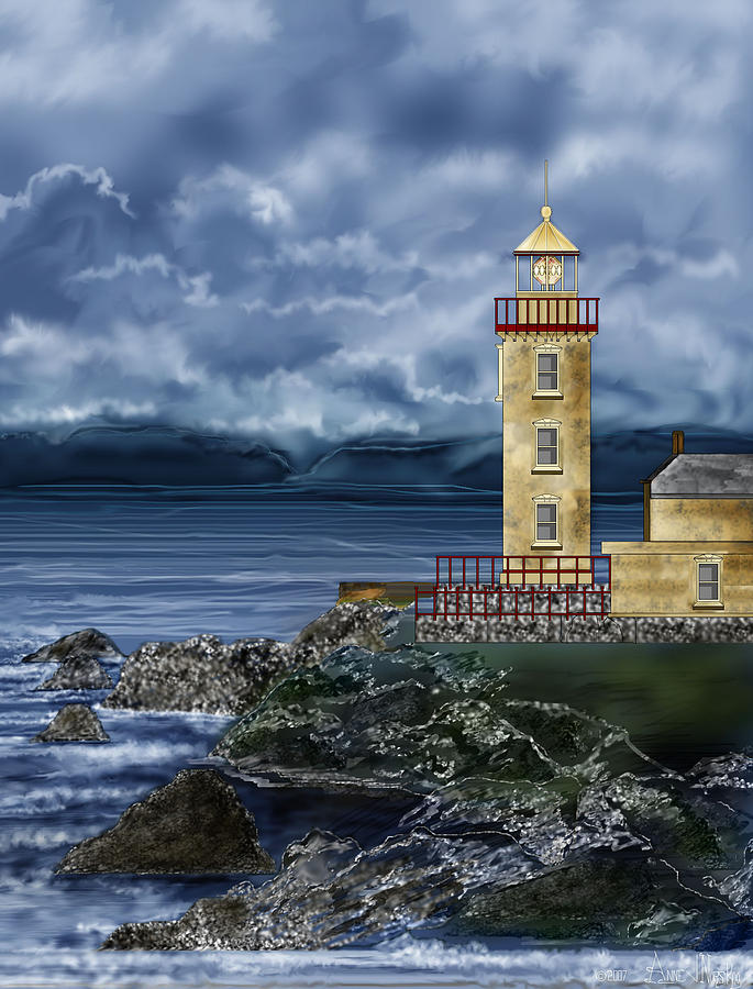 Lighthouse Painting - Fanad Head Lighthouse Ireland by Anne Norskog