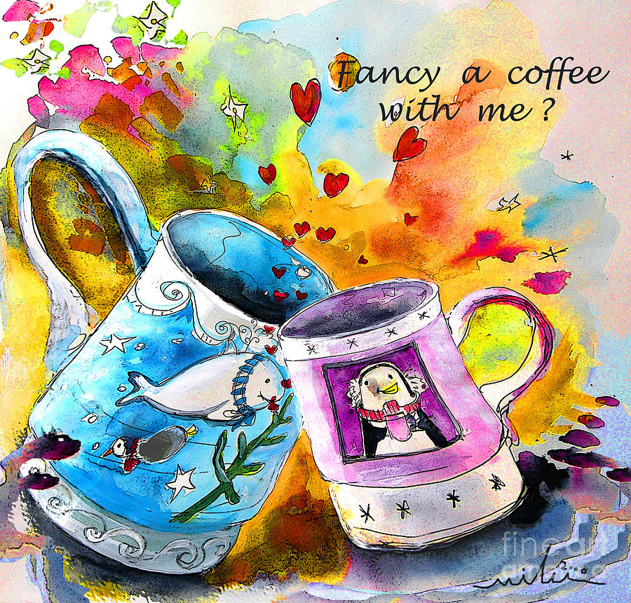 Sketches Painting - Fancy a coffee by Miki De Goodaboom