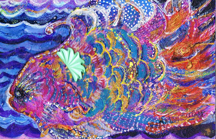 Fish Mixed Media - Fancy Fish On A Monday  by Anne-Elizabeth Whiteway