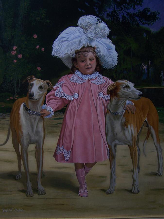 Dogs Painting - Fancy Grayhounds  by Robert E Gebler