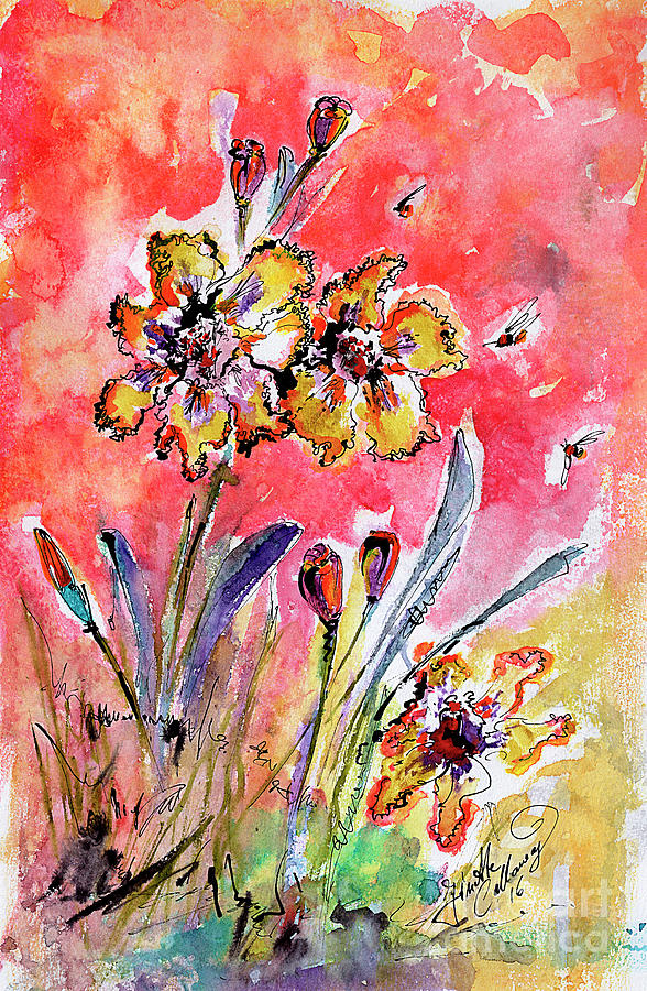 Fancy Irises Flower Watercolor Painting by Ginette Callaway