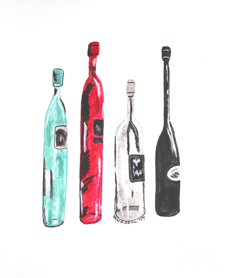 Fancy Wine Bottles Watercolor Painting By Scott D Van Osdol
