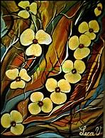 Flowers Painting - Fancy Yellow Flowers by Lecca