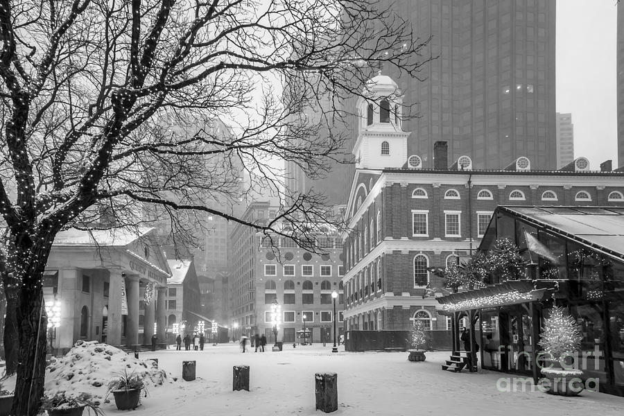 Faneuil Hall in Snow - BW by Susan Cole Kelly