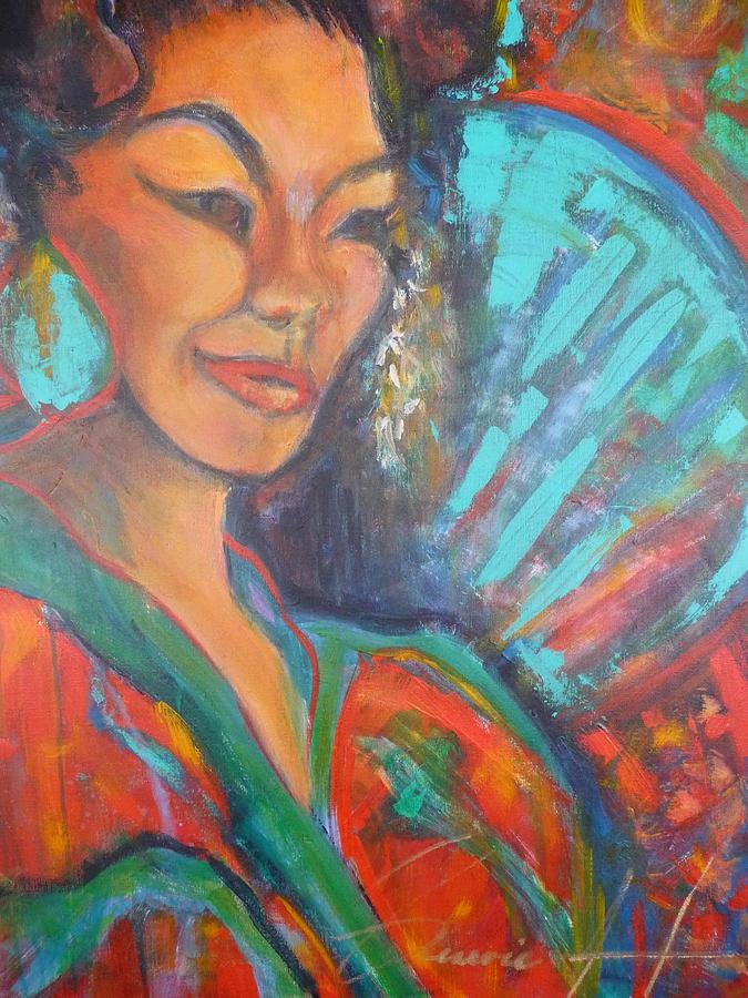 Asian Fan Painting - Fanfare by Genevie Henderson