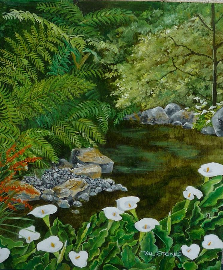 Canna Lillies Painting - Fantastic Canna Lillies by Val Stokes